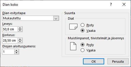 Muokkaa Powerpoint-dian kokoa infonäytöille sopivaksi